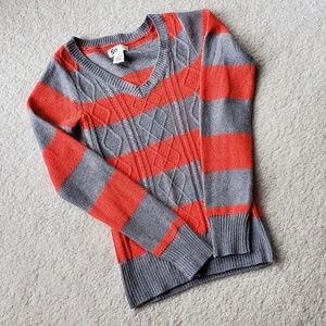 SO Gray and Orange Striped Sweater